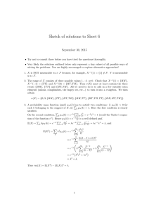 Sketch of solutions to Sheet 6 September 30, 2015