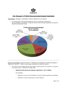 City Manager's FY2016 Recommended Budget Highlights