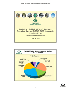 Preliminary FY2016 & FY2017 Strategic Operating Plan and FY2016-2020 Community Investment Plan 1
