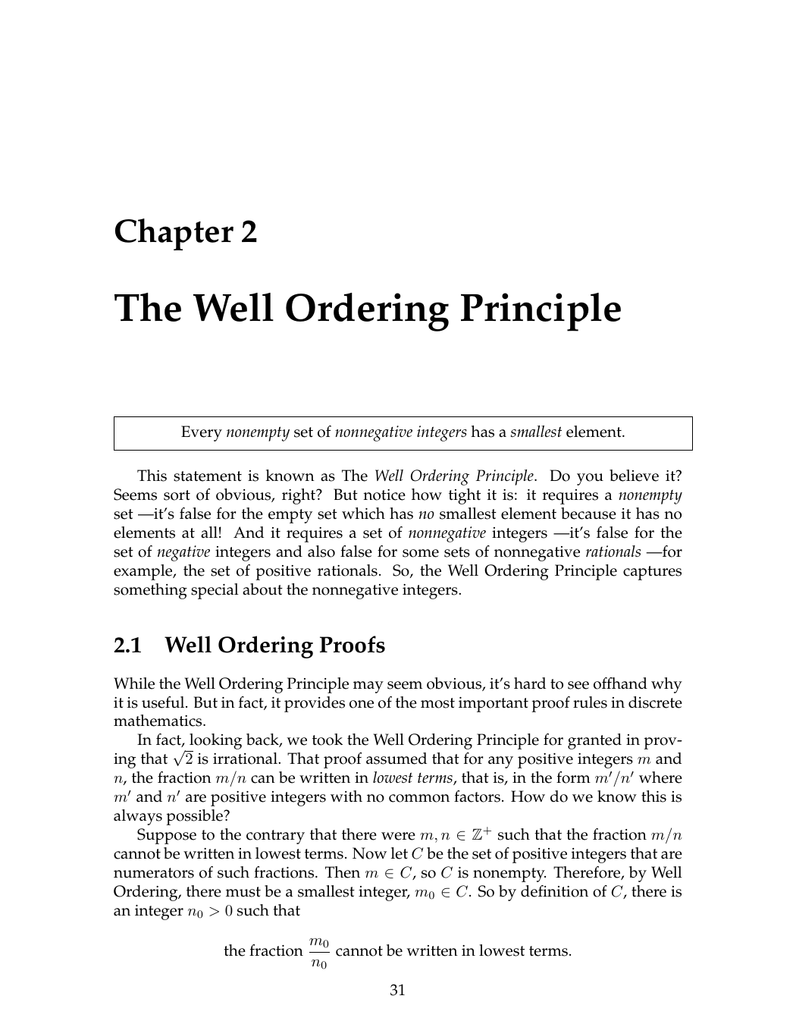 The Well Ordering Principle Chapter 2