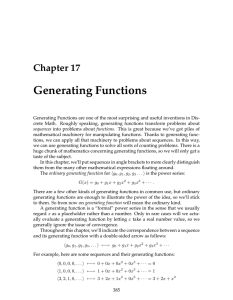 Generating Functions Chapter 17
