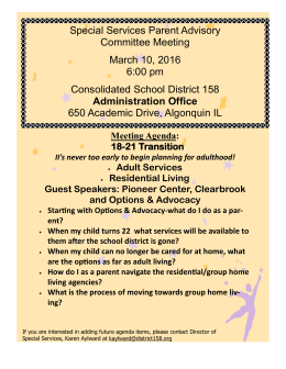 Special Services Parent Advisory Committee Meeting March 10, 2016 6:00 pm