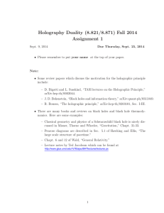 Holography  Duality  (8.821/8.871) Fall  2014 Assignment  1