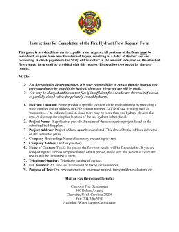 Instructions for Completion of the Fire Hydrant Flow Request Form