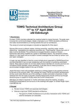 TDWG Technical Architecture Group 11 to 13 April 2006