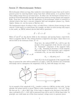 Session : Electrodynamic  Tethers