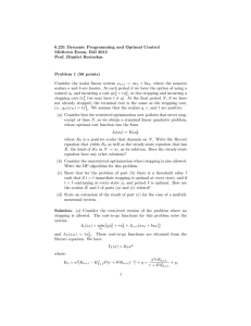 6.231 Dynamic Programming and Optimal Control Midterm Exam, Fall 2015