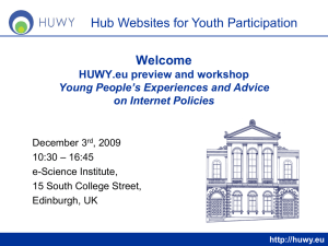 Welcome Hub Websites for Youth Participation HUWY.eu preview and workshop