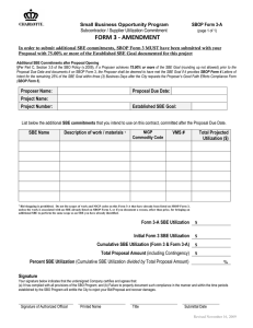 FORM 3 ‐ AMENDMENT  SBOP Form 3-A Small Business Opportunity Program