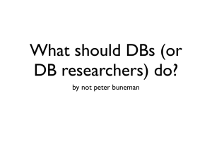 What should DBs (or DB researchers) do? by not peter buneman