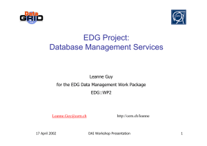 EDG Project: Database Management Services Leanne Guy