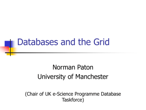 Databases and the Grid Norman Paton University of Manchester