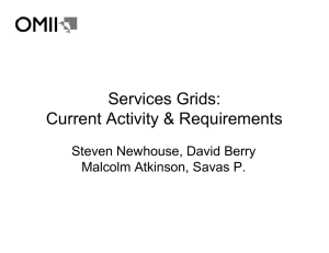 Services Grids: Current Activity & Requirements Steven Newhouse, David Berry
