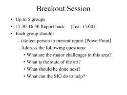 Breakout Session
