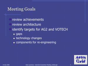 Meeting Goals review achievements review architecture identify targets for AG2 and VOTECH