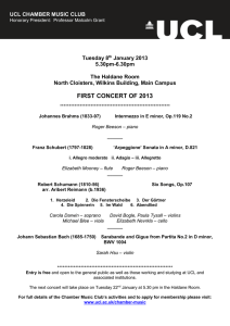 FIRST CONCERT OF 2013 Tuesday 8 January 2013 5.30pm-6.30pm
