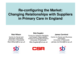 Re-configuring the Market: Changing Relationships with Suppliers in Primary Care in England