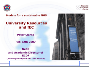 University Resources and fEC Models for a sustainable NGS Peter Clarke