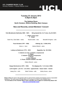 Tuesday 22 January 2013 5.30pm-6.30pm Members' Concert
