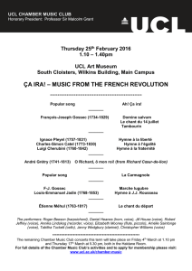 – MUSIC FROM THE FRENCH REVOLUTION ÇA IRA!  Thursday 25
