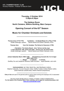 Opening Concert of the 63 Season  Music for Chamber Orchestra and Soloists