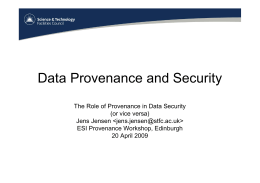 Data Provenance and Security