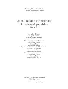 On the checking of g-coherence of conditional probability bounds Veronica Biazzo