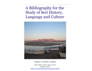 A Bibliography for the Study of Seri History, Language and Culture