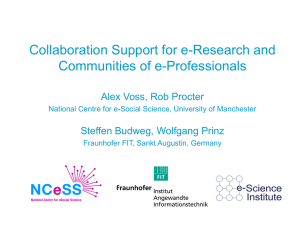 Collaboration Support for e-Research and Communities of e-Professionals Alex Voss, Rob Procter