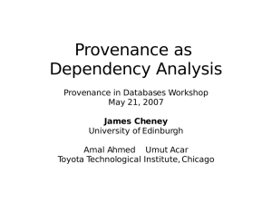 Provenance as Dependency Analysis