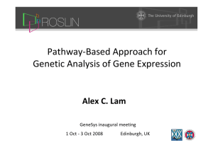 Pathway‐Based Approach for  Genetic Analysis of Gene Expression Alex C. Lam GeneSys inaugural meeting