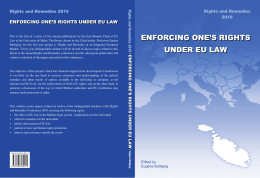 ENFORCING ONE'S RIGHTS ENFORCING ONE'S RIGHTS UNDER EU LAW Rights and Remedies