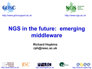 NGS in the future: emerging middleware Richard Hopkins