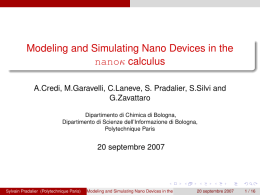 Modeling and Simulating Nano Devices in the calculus κ nano