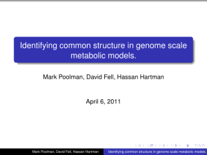 Identifying common structure in genome scale metabolic models. April 6, 2011