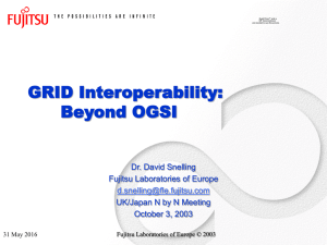 GRID Interoperability: Beyond OGSI Dr. David Snelling Fujitsu Laboratories of Europe