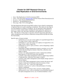 Charter for GGF Research Group on Data Replication in Grid Environments