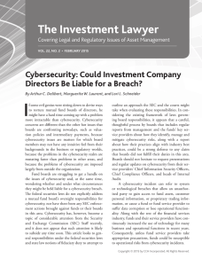 I The Investment Lawyer Cybersecurity: Could Investment Company