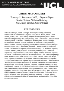 CHRISTMAS CONCERT Tuesday 11 December 2007, 5.30pm-6.30pm North Cloister, Wilkins Building