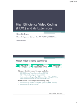 High Efficiency Video Coding (HEVC) and its Extensions Major Video Coding Standards