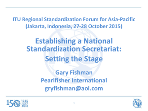 Establishing a National Standardization Secretariat: Setting the Stage