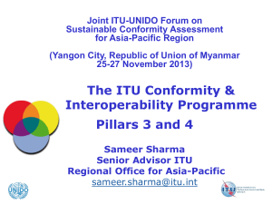 Joint ITU-UNIDO Forum on Sustainable Conformity Assessment for Asia-Pacific Region