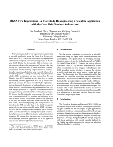 OGSA First Impressions - A Case Study Re-engineering a Scientific... with the Open Grid Services Architecture