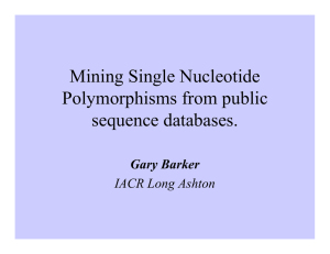 Mining Single Nucleotide Polymorphisms from public sequence databases. Gary Barker