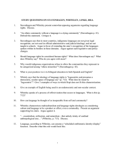 1. Stavenhagen and Whiteley present somewhat opposing arguments regarding language