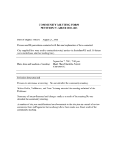 COMMUNITY MEETING FORM PETITION NUMBER 2011-063
