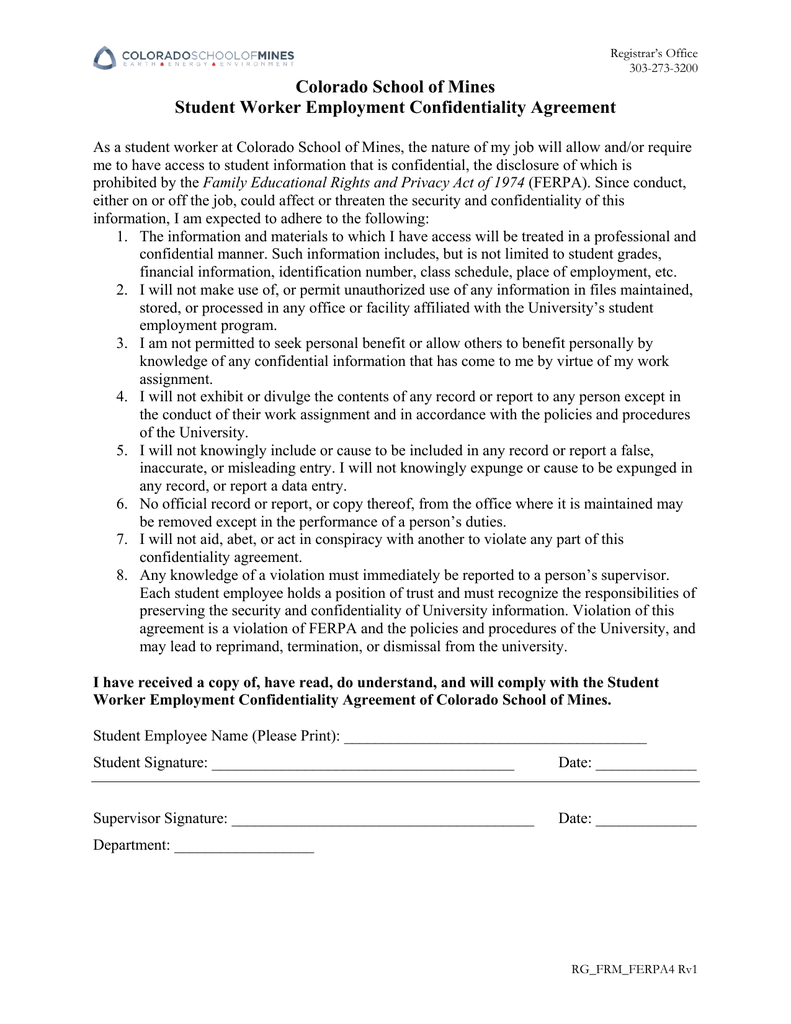 Colorado School Of Mines Student Worker Employment Confidentiality