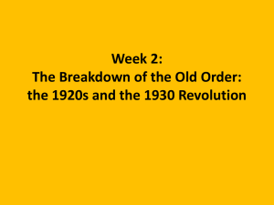 Week 2: The Breakdown of the Old Order: