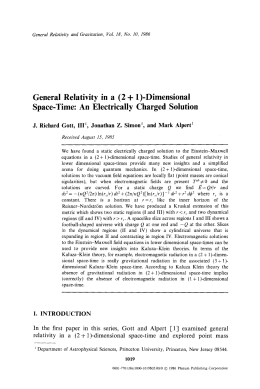 General  Relativity  in  a  (2 + ... Space-Time:  An  Electrically  Charged  Solution