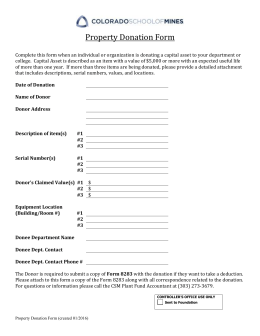 Property Donation Form